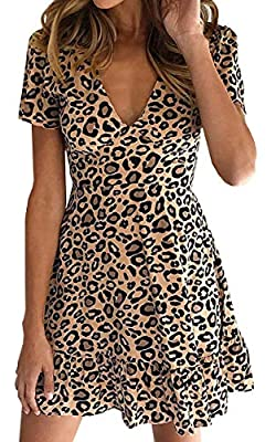 ❤Material:Polyester. Soft stretch material,head-turning design ,combination of Fashion and Sexy. ❤Features:V Neck, Leopard print,Ruffles hem, Short sleeve, Show your own Sexy and Fashion. ❤Occasion: Good for Party, Work, Date, Wedding, Cocktail, Nigh...