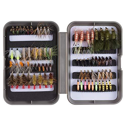 Bassdash Fly Fishing Flies Kit Assortimento di Mosche Trota Bass Fishing con Fly Box, 36/64/72/76/80/96 Pezzi con Mosche secche/bagnate, ninfe, Stelle filanti, Popper