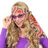 NET TOYS Bandeau années 70 Serre-tête Hippie Rose-Vert Turban Flower Power années 60 Cheveux Peace Accessoire Carnaval soirée déguisée Costume de Carnaval Accessoires