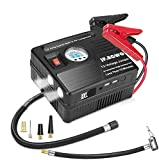 JF.EGWO 3000A Peak Car Jump Starter with Air Compressor, 120PSI Tire Inflator with Digital Screen Pressure Gauge, 24000mAh 12V Auto Battery Booster (8.5L Gas/ 6.5LDiesel Engine), 2 USB Port 2 Light
