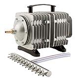 EcoPlus HGC728459 Eco Air7 Commercial Air Pump 7-200 Watt Single Outlet, With 12 Valve Manifold For Aquarium, Fish Tank, Fountain, Pond & Hydroponics, 3566 GPH, Silver