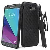 ZASE Case for Samsung J3 Eclipse, J3 Emerge, J3 Prime Case, Galaxy Express Prime 2, Amp Prime 2, J3 2017 Swivel Belt Clip Holster Armor Slim Protective Defender [Kickstand] (Black Holster Combo Case)