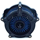 Motorcycle Turbine Air Cleaner Intake Filter Cnc Cut Kit Black for Harley...