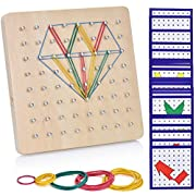 Ulikey Holz Geoboard Spielzeug Set Geometriebrett Montessori Peg Board Form Anerkennungs Geschenk für Kinder
