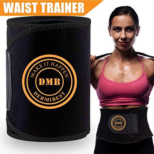 DERMIBEST Waist Trimmer for Women&Men Weight Loss Slimmer Kit Ab Belt-Sweat Waist Trainer Stomach Fat Burner Wrap- Best Abdominal Trainer Low Back and Lumbar Support with Sauna Suit Effect