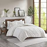 Madison Park Pacey Tufted Chenille 100% Cotton Duvet, Geometric Shabby Chic Cozy All Season Comforter Cover Bed Set with Matching Shams, Full/Queen(90'x90'), White 3 Piece