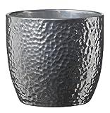 Soendgen Keramik Blumenübertopf, Boston Metallic, silber, 14 x 14 x 13 cm, 0049/0014/1874