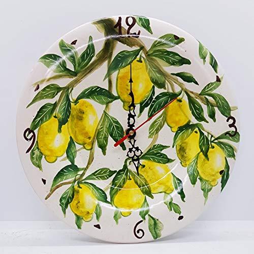 Orologio da muro Limoni Ceramica Cucina Linea Frutti Misti Realizzato e Dipinto a mano Le Ceramiche del Castello Made in Italy Dimensioni 26 centimetri diametro