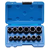 Impact Nut and Bolt Extraction Tool Set | Rusted Damaged Stripped Nut and Bolt Remover Tool Kit | Nut Bolt Extractor Socket Set in 13 SAE and Metric Sizes for 3/8 Inch Drive with Case