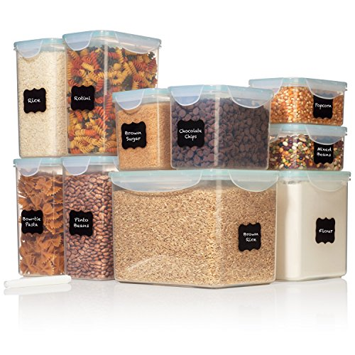 TALL WIDE DEEP Food Storage Containers - Sugar, Flour Plastic Containers 20 pc (set of 10) - 18 FREE Labels & Marker - Airtight, Leakproof, BPA Free - Microwave, Freezer & Dishwasher Safe