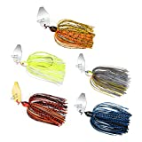 MadBite Bladed Jig Fishing Lures, 5 pc Multi-Color Kits, Irresistible Vibrating Action, Sticky-Sharp Heavy-Wire Needle Point Hooks, Popular 3/8 oz Sizes, Includes Storage Box