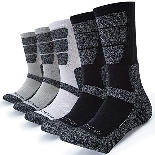 KEECOW Socken Herren 43-46 5 paar Wandersocken Trekkingsocken für Herren Atmungsaktiv Sportsocken Hochleistung (Schwarz / Weiß / Grau