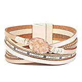 Women Leather Bracelet - Retro Fashion Braided Wrap Wristlet Handmade Boho MultiLayer Belt Pearl Jewelry with Magnetic Clasp - Bohemian Style Gift for Women (Natural Stone-Beige)