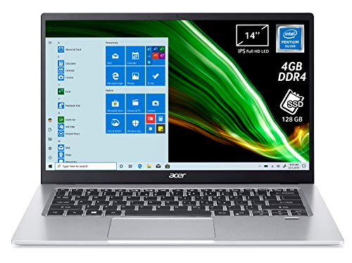 "Acer Swift 1 SF114-33-P0HB PC Portatile, Notebook, Processore Intel Pentium N5030, Ram 4 GB, 128 GB SSD, Display 14"" FHD IPS LED, 1,3 Kg, Batteria 16 ore, Windows 10 Home in S mode, Spessore 14,95mm"