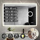 Miroir de Salle de Bain LED - CEE: A++, Tactile, Mural, Horloge Numérique,...