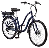 Schwinn Mendocino Adult Hybrid Cruiser eBike, Electric Bicycle, Lightweight Aluminum Frame, 26-Inch Wheels, 6 Speed Drivetrain, Matte Blue