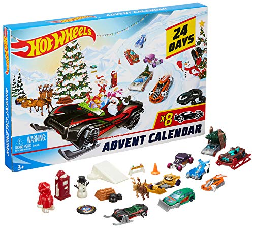 Hot Wheels-24 Days Advent Calendar Giocattolo per Bambini 3+ Anni con Veicoli ed Accessori, Multicolore, FYN46