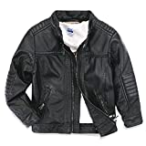 LJYH Boys Faux Leather Jacket New Spring Children's Collar Motorcycle Leather Zipper Coat Black 3/4 (100)