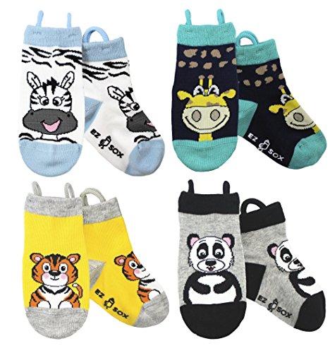 Ez Sox Calzini per bambini (5-9 anni, Zebra/Giraffe/Tiger/Panda)