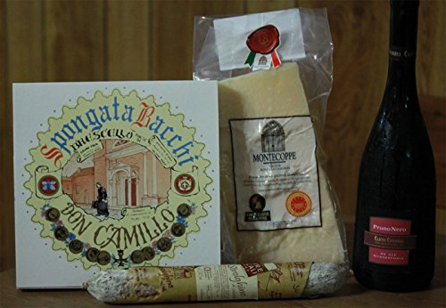 Cesto regalo con Parmigiano Reggiano, Strolghino e Lambrusco
