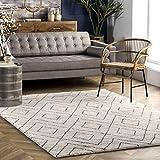 nuLOOM Tia Diamond Hand Knotted Wool Area Rug, 8' x 10', Beige