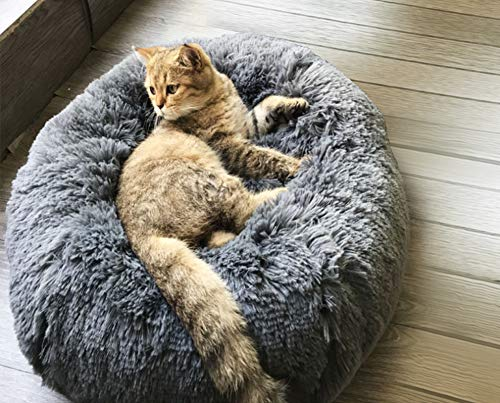 BinetGo Dog Bed Cat Bed Cushion Bed Faux Fur Donut Cuddler for Dog and Cat Joint-Relief and Improved Sleep – Machine Washable, Waterproof Bottom (Large, Navy Grey)