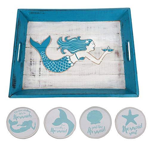 Mermaid Carved Wood Serving Tray Including 4 Mermaid Drink...