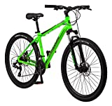 Mongoose Switchback Trail Adult Mountain Bike, 21 Speeds, 27.5-Inch Wheels, Mens Aluminum Small Frame, Neon Green (R8056SMAZ)
