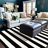 LEEVAN Black and White Striped Area Rug 5' x 7' Indoor Outdoor Rug Washable Woven Farmhouse Fabric Porch Front Outdoor Rug Patios Clearance for Living Room Large Cotton Floor Carpet