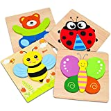 ATOPDREAM Toddler Puzzles Ages 1-3 Jigsaw Puzzles Wooden Toys for 1 Year Old Girl Gifts Educational Toys with 4 Pack Animals Patterns