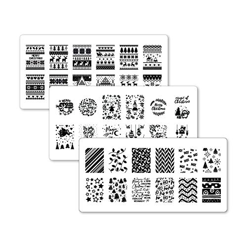 Winstonia 3pcs Christmas Nail Stamping Plates Festive Winter Image Set Bundle for Easy Ugly Sweater Nail Art Manicure