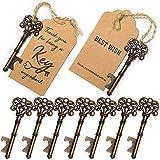 SHUNING 50pcs Favores de la boda esqueleto abrelatas de botella con Escort tarjeta de la etiqueta y la cuerda para invitados Fiesta favores rústico (8CM)