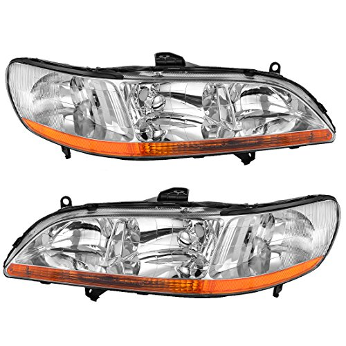 AUTOSAVER88 Headlight Assembly Compatible with 1998 1999 2000 2001 2002 Honda Accord Headlamp Replacement, Chrome Housing Amber Reflector