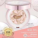 Age 20's Compact Foundation Premium Makeup, Case + 1 Refill - Pink Latte Essence Cover Pact SPF50+ (Made in Korea) - Pink / Nude Beige (Color 21)