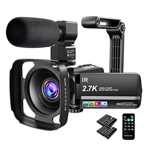 Video Camera Camcorder 2.7K Ultra HD YouTube Vlogging Camera 36MP IR Night Vision Digital...