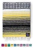 Mexican Blanket, Falsa Blanket | Authentic Hand Woven Blanket, Serape, Yoga Blanket | Perfect Beach Blanket, Navajo Blanket, Camping Blanket, Picnic Blanket, Saddle Blanket, Car Blanket (Sunshine)