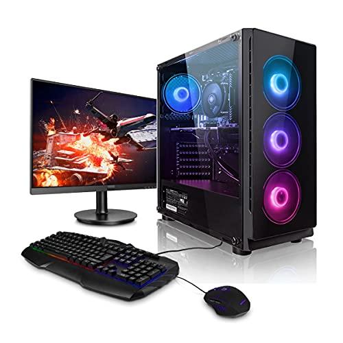 """Megaport Super Méga Pack - Unité Centrale PC Gamer Complet Intel Core i7-9700 • Ecran LED 24"""" • Clavier et Souris Gamer • GeForce GTX1060 6Go • 16Go • Win 10 Ordinateur de Bureau PC Gaming"""