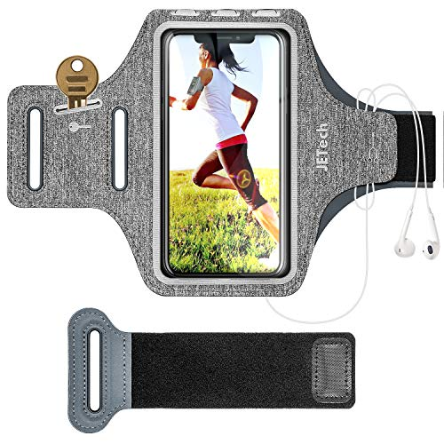 JETech Cell Phone Armband Case for iPhone SE(2020)/11/11 Pro/XR/XS/X/8 Plus/7 Plus/8/7/6s/6, Galaxy S10/S9/S9+, Adjustable Band, w/Key Holder and Card Slot, for Running, Walking, Hiking