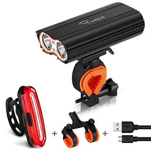 Ryaco Luci per Bicicletta, Luci Bicicletta LED Ricaricabili USB, 2400 lumens 4 modalit, Luce Bici Anteriore e Posteriore Super Luminoso Luce Bici LED per Bici Strada e Montagna- Sicurezza per Notte