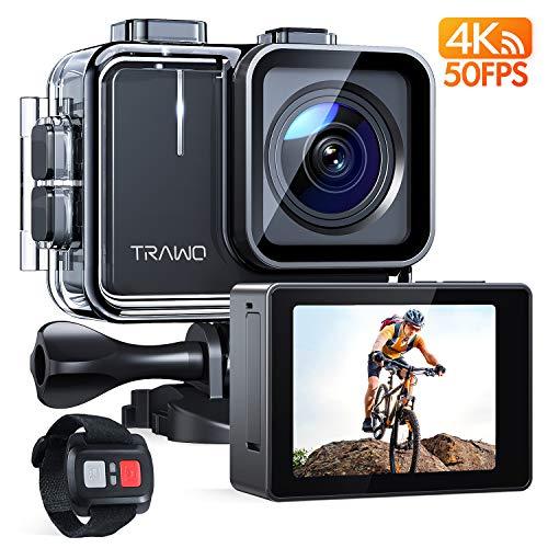APEMAN TRAWO Action Cam A100, Touch Screen Nativo 4K/50FPS 20MP WiFi Impermeabile 40M Fotocamera, Avanzato Sensore Super EIS Stabilizzata Videocamera, Telecomando con 2 1350mAh Batterie