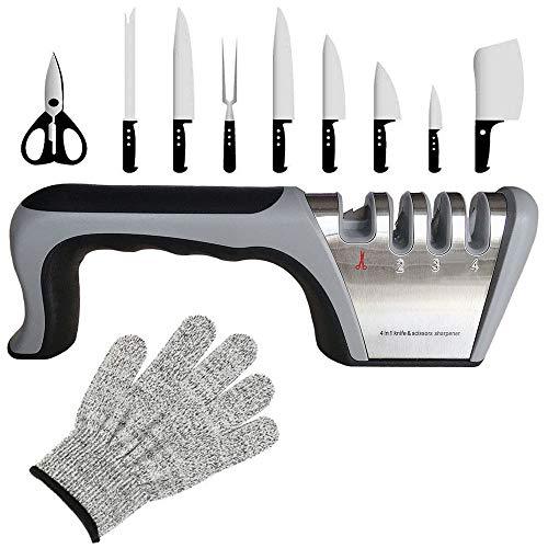 Aiguiseur Couteaux-Professionnel affuteur 4 Modes Différents Aiguiseur Couteaux Cuisine pour Les Couteaux et Les Ciseaux Ménagers(Base...