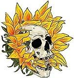 Sunflower Skull Sticker for Car Vinyl Decal Window Truck Window Car Bumper Sticker Laptop Decal Motorcycle Helmet (1.5' Set of 1)