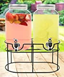 Estilo 1 gallon Glass Mason Jar Double Beverage Drink Dispenser On...