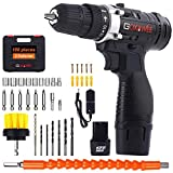 Cordless Drill Driver 12V, GOXAWEE 100Pcs Electric Screwdriver Set (2 Batteries 1500mAh, Max Torque 30Nm, 2-Speed, 10mm Automatic Chuck) for Home Improvement & DIY Project
