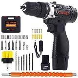 Taladro Atornillador 12V, GOXAWEE 100Pcs Kit Taladro Eléctrico/Destornillador Eléctrico (2 Baterías de Litio 1500mAh, 30N.m Par Máx, 2 Velocidades, 10mm Portabrocas Automático)