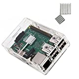 KuGi Raspberry Pi 3 Model B case PC Protective Case with 2x Heatsinks for Raspberry Pi 3 Model B+ ,Raspberry Pi 3 Model B, Pi 2 Model B & Pi Model B+ (Clear)