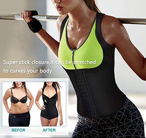 Rolewpy Women Neoprene Waist Trainer Corset Sweat Vest Sauna Body Shaper Cincher Workout Tank Top (Black Sauna Vest, Small (US 4-8)) 7