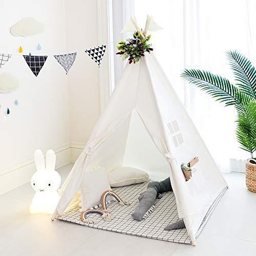 TreeBud Kids Tipi Zelt, klassisches indisches Spielzelt für Kinder, faltbares Spielhaus für drinnen oder draußen, Kinderzelte aus Baumwolle für Mädchen und Jungen mit Tragetasche (Weiß)