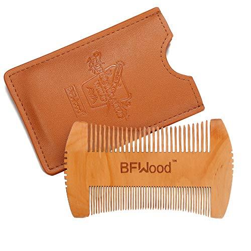 Pettine Barba – Pettine per Barba in Legno Tascabile con Impugnatura - Custodia in Pelle (MARRONE) di BFWood