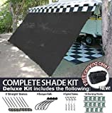 RV Awning Shade Motorhome Patio Sun Screen Complete Deluxe Kit (Black) (10'x14')